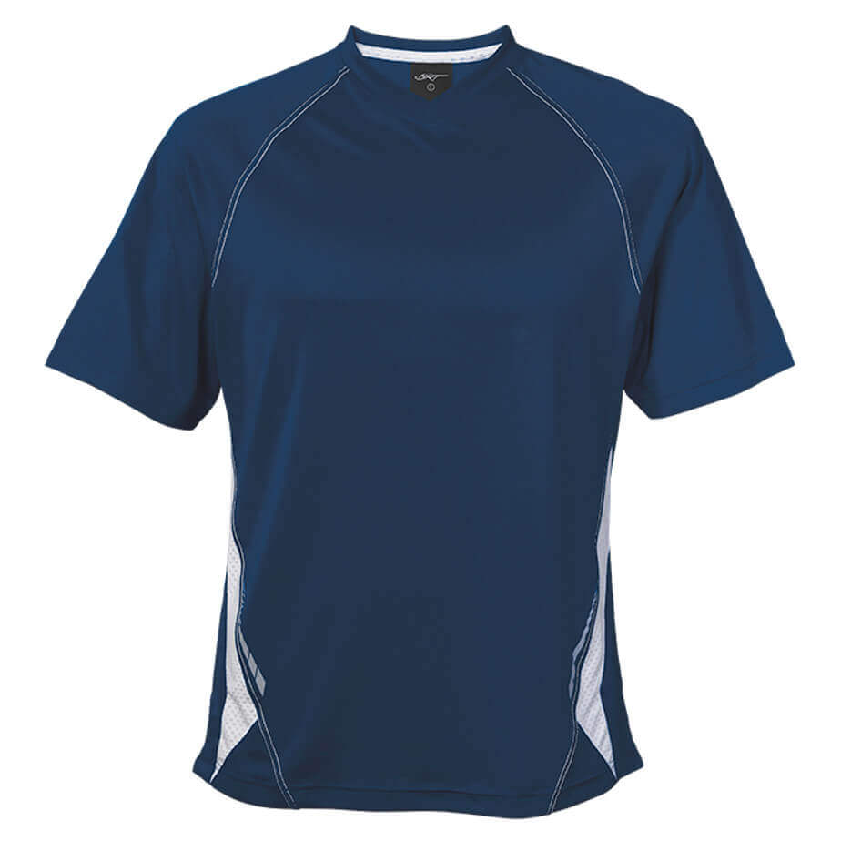 The Navy/White BRT Hydro Short Sleeve Is Made From 145g 100% Polyester. The T-Shirt Features Include Raglan Sleeves, Contrast Mesh Side Panels With Reflective Print And A V-Neck.