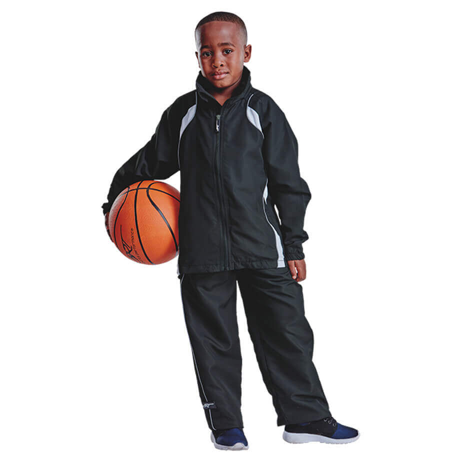 Black-White 100% Polyester Kiddies BRT Reflect Tracksuit With Reflective Piping, Contrast Detail On Body And Elasticated Draw Cord With Side Toggles
