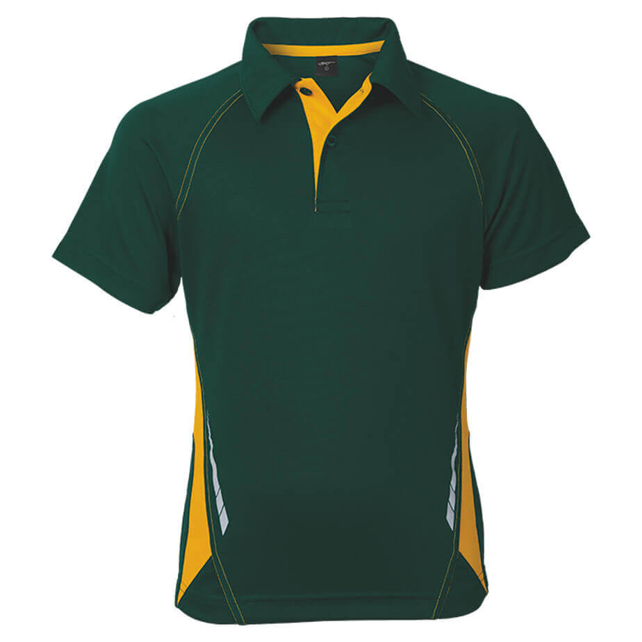 The Green/Gold BRT Hydro Golfer IS Made From 145g 100% Polyester. The Features Include Mesh Side Panels, Contrast Inner Placket With Two Tonal Buttons, Reflective Print With A Back Hem.
