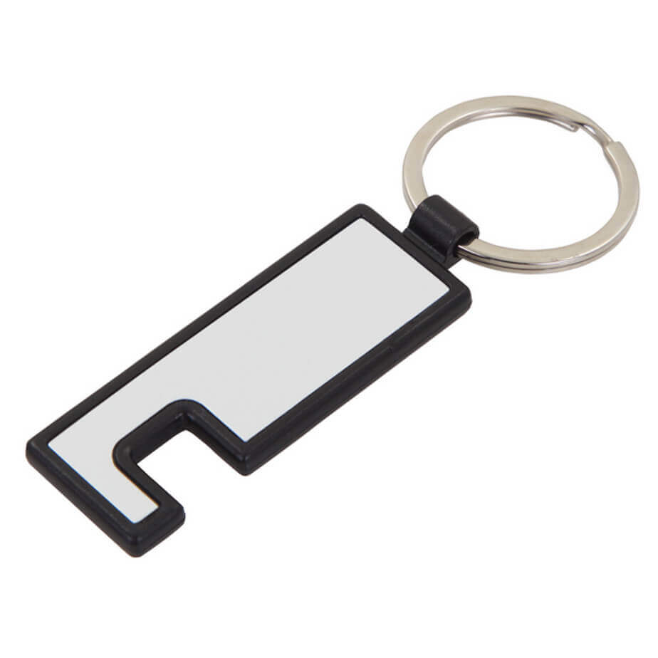 The Keyring Cellphone Accessory Is Made From Plastic And Aluminium.The Accessory Is A Cellphone Holder And A Screen Wiper.