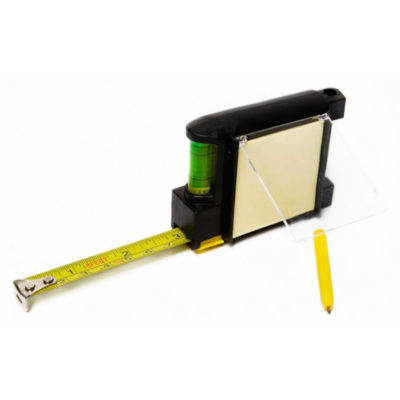 Tape Measure includes 3 meter tape with a notepad and pen and spirit level