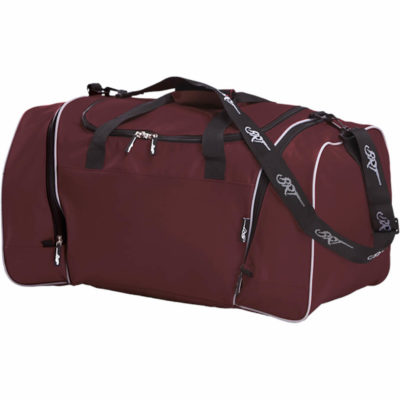 The maroon BRT Pro Reflect Bag is made from 600D nylon with reflective piping, two side zip pockets, a BRT branded shoulder strap and zippers as well as a plastic feet with a constructed base.