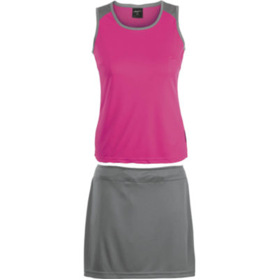 The Pink/Grey BRT Econo Single Set- Top & Skirt Is Made From 100% Polyester. The Features Include Contrast Binding, Single Needle Top Stitching And A Concealed Flat Draw Cord With An Elasticated Waistband.