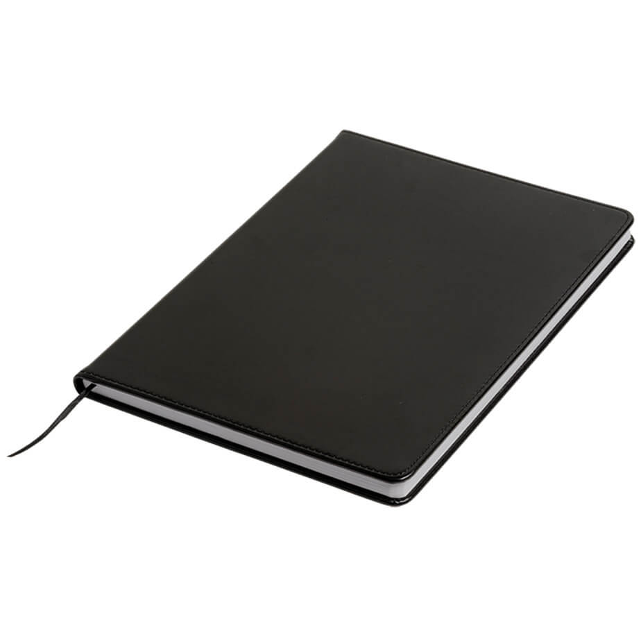 The A4 Notebook Bound In PU Cover Is Designed With PU Cover With Bookmark Ribbon. PU Bound Cover. 100 Lined Sheets. Available In Black