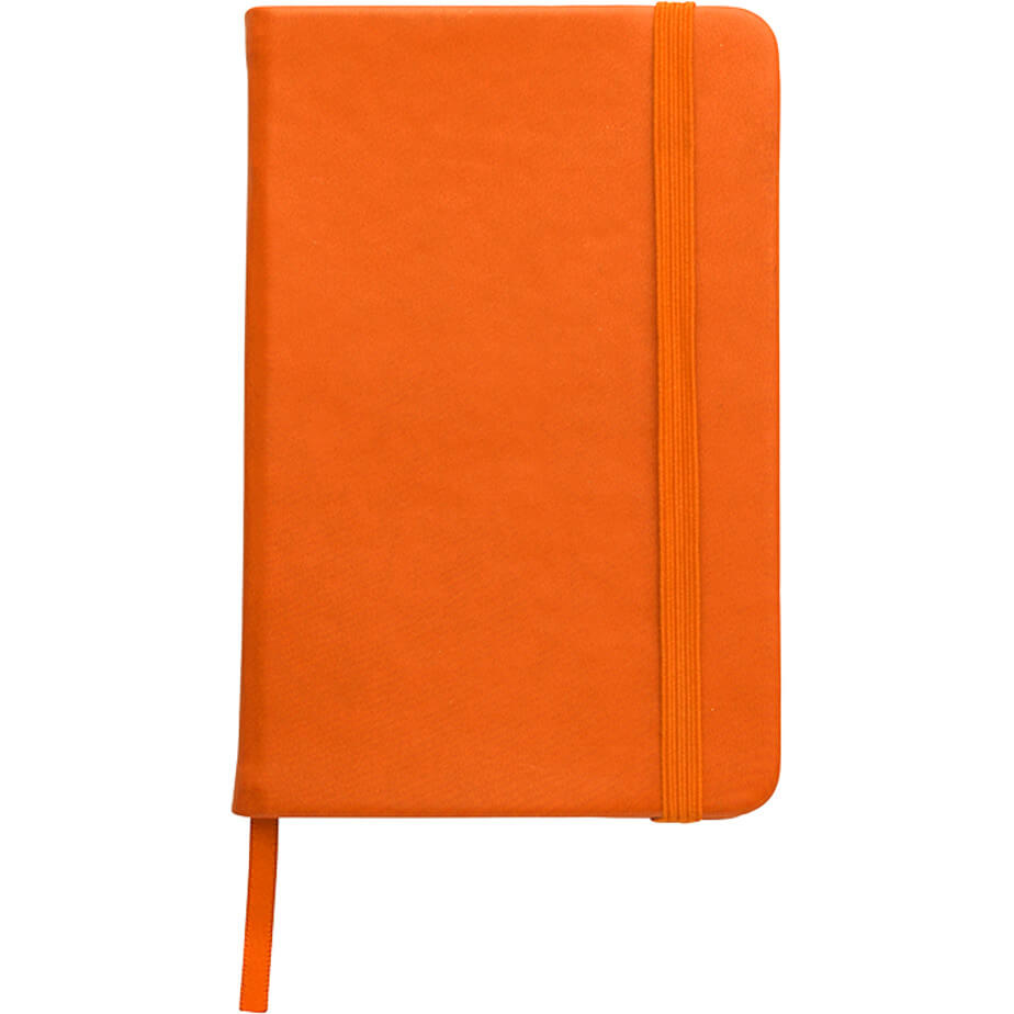 The orange A5 Luxury PU Notebook contains 96 lined pages with a colour ribbon bookmarker and a elastic closure in the same colour. Made from PU material.