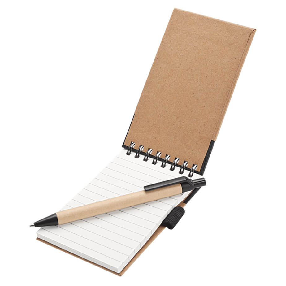 The Recycled Jotter Pad and Pen Is Made Of Recycled Paper With Spiral Jotter. Designed Elastic Pen Holder And Closure. Features 50 Pages.