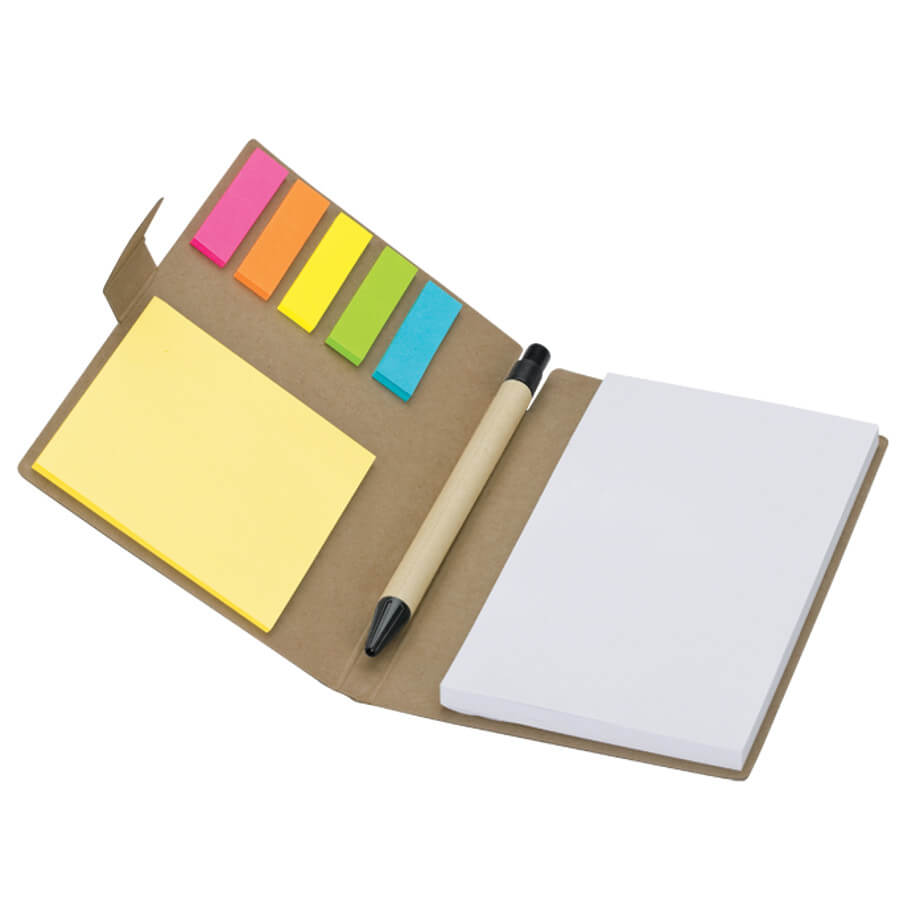 The Recycled Notebook With Pen And Flags Is Made Of Recycled Paper. Features Include Notepad And Self Stickers. Available In Natural.