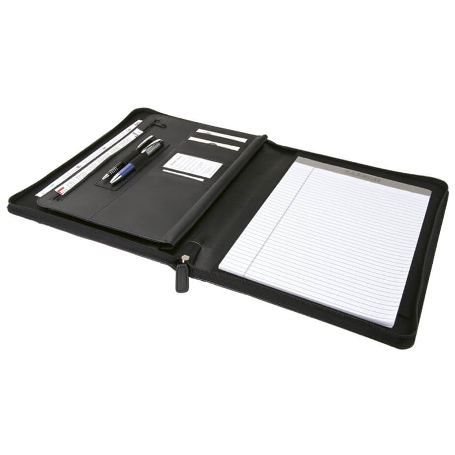 The A4 Zip Around Folder with Writing Pad Is Made From Leatherette With gusseted file pocket. Various Features Included. Available In Black Only.