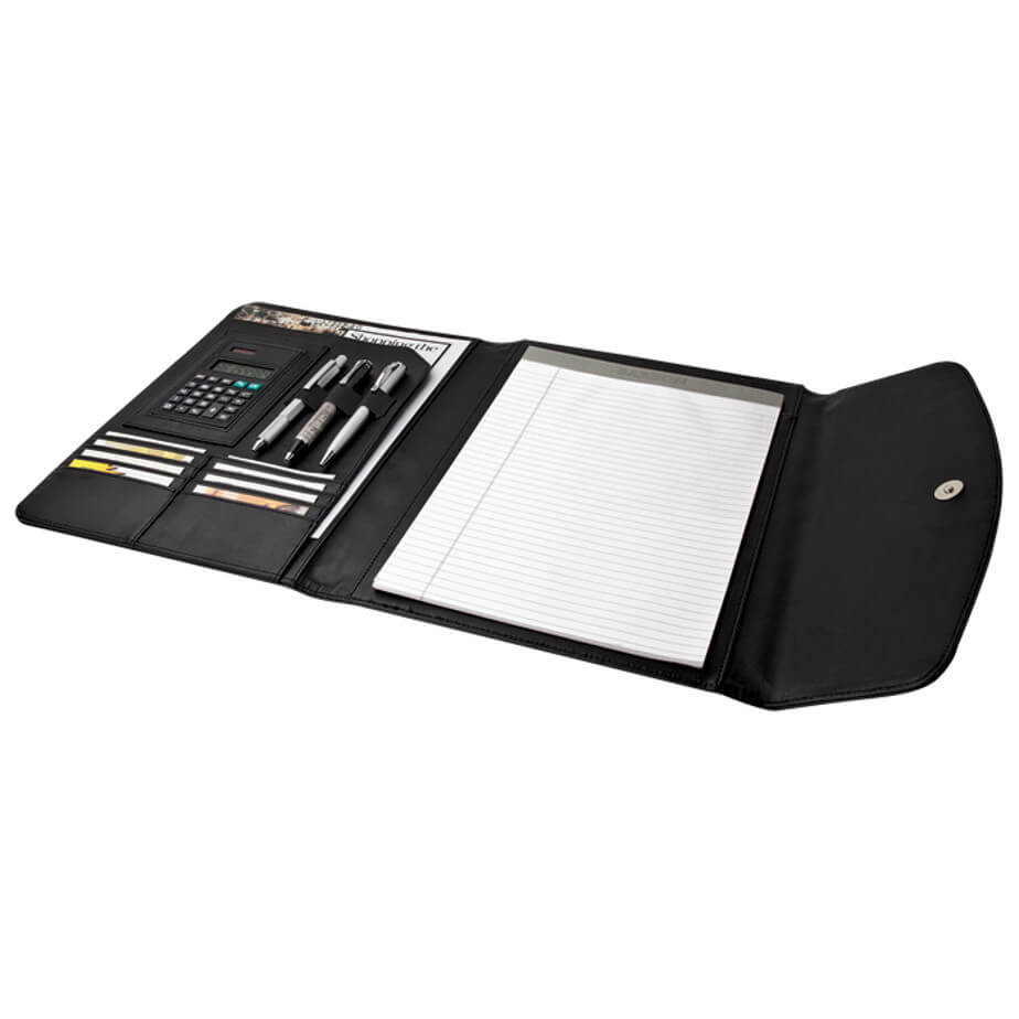 The A4 Folio with Calculator and Zippered Flap Pocket - 40 pages Is Designed with interior pocket And Magnetic Closure. Various Features Included. Available In Black Only.
