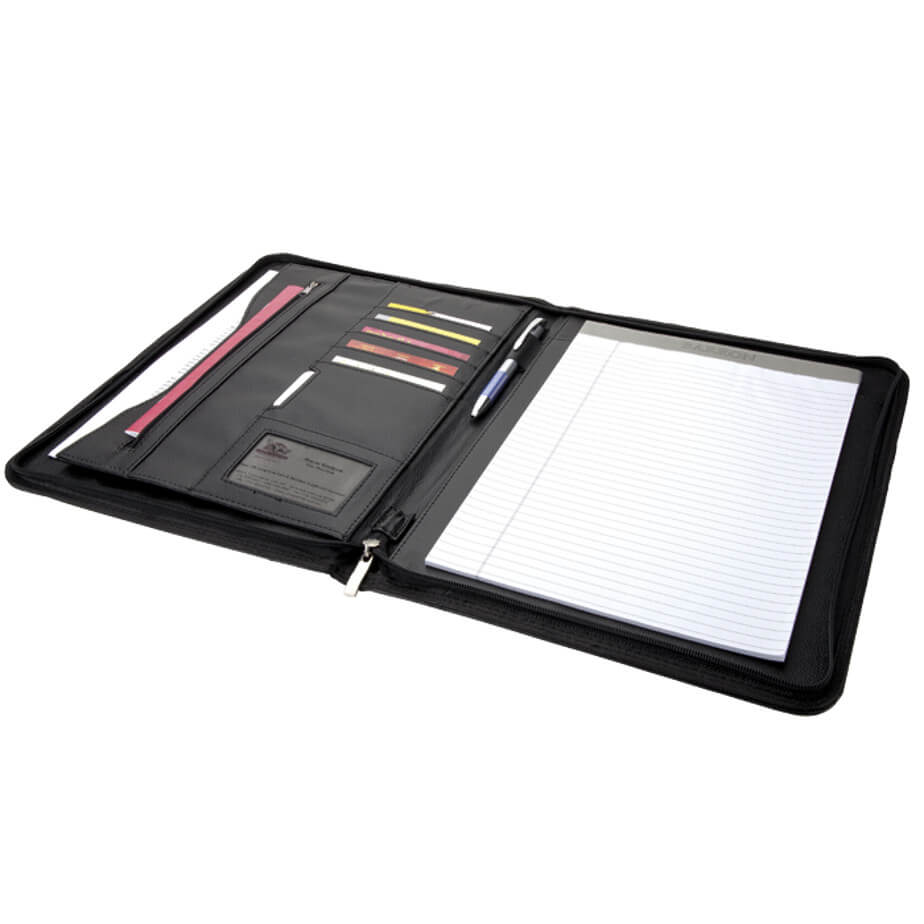 The A4 Zippered Folder comes in black and is an A4 rectangular shaped folder that has a writing pad on the right side with a pen loop in the middle and card slots on the left side. It also features a transparent sleeve that you can store your business or work card. You can zip it closed.