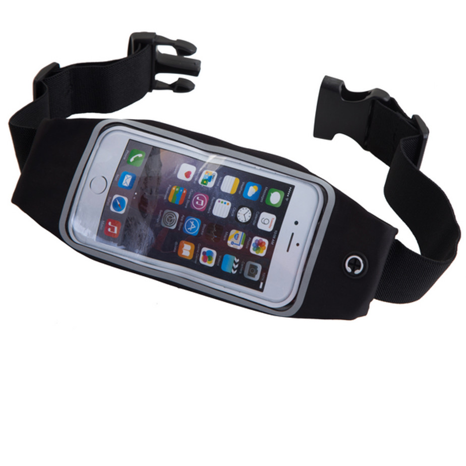 The Athlete Runners Belt Features A Black Elasticated Belt. The Belt Includes A Earphone Hole , Pouch For Cellphone And A Separate Compartment For Keys With A Luminous Strip.