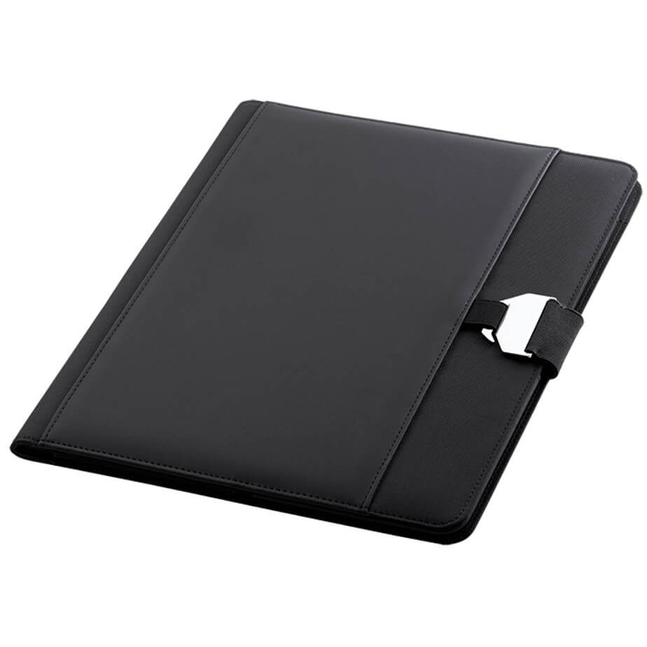 The A4 Folder with Buckle Clip Design Has A Hook Closure. Designed With Interior And Exterior Pockets. Available In Black Only.