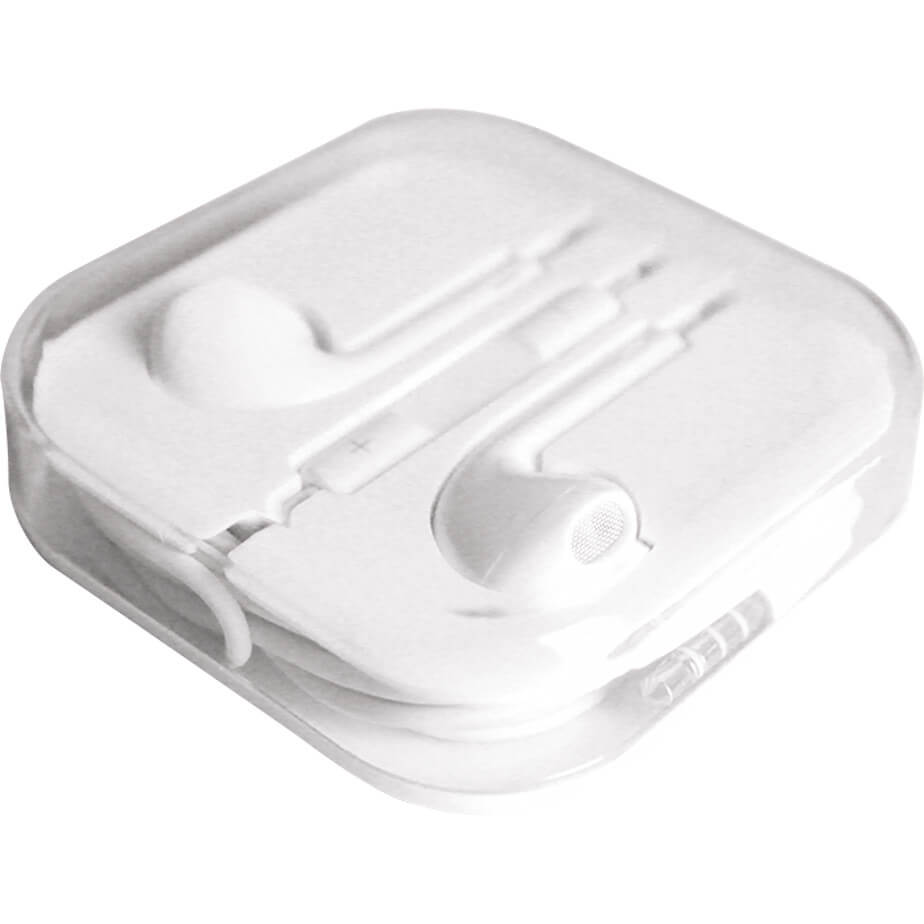 The Earphones In Moulded Case Features Include Earphones With A Cord Length Of 12cm And A 3.5mm Audio Jack. The Earphones Are Packaged In A Clear Plastic Cover.