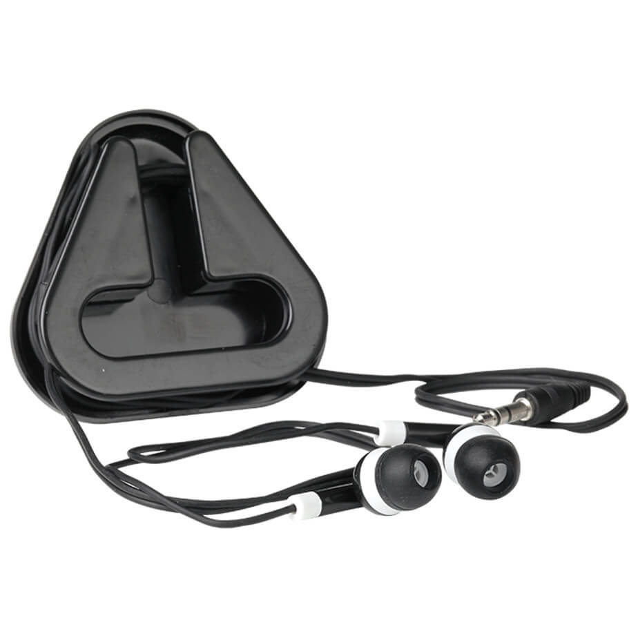 Earphones in Triangular Protective Case Packaged In A Clear Case With Matching Colour Tray