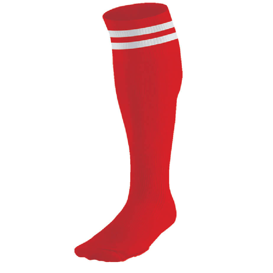 The Red/White Pace Sock Features Elasticated Pull Up Sock And Double Stripe Design.