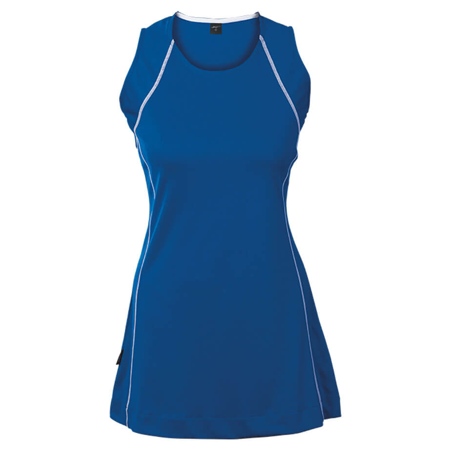 The Royal/White Kiddies BRT Motion Dress Is Made From 100% Polyester. The Dress Features An Inner Contrast Flat Binding, Contrast Stitching Design, Feminine Fit, Shaped Back For Comfort And A 4cm Hem For Length Adjustment.