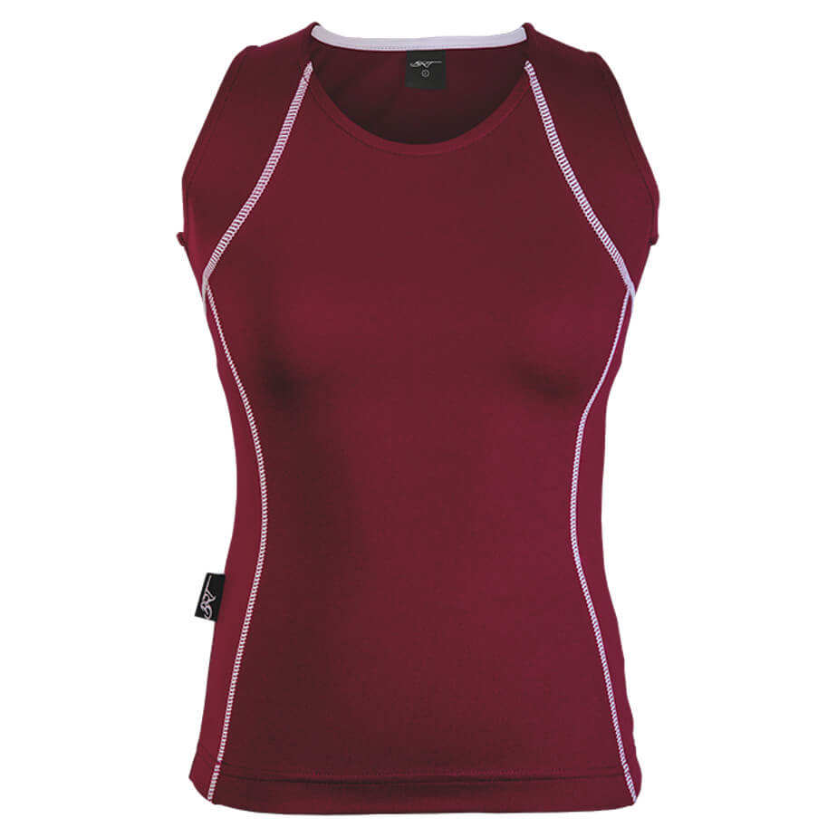 The Maroon/White Kiddies BRT Motion Top Is Made From 100% Polyester. The Top Includes A Contrast Stitching Design And Shaped Back For Comfort.