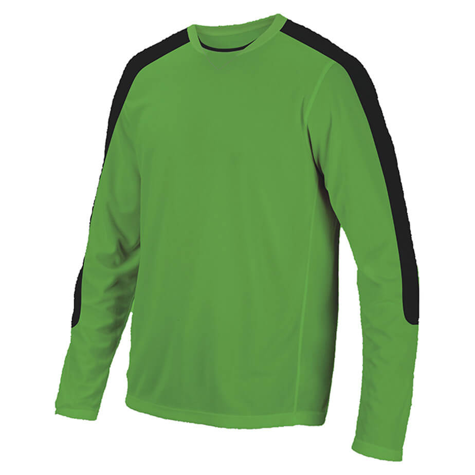 The Electric Lime/Black BRT Goalie Shirt Is Made From 100% Polyester. The Features Include Tapered Long Sleeves, Two Tone Neck Line,Padding On Elbow,Contrast Detail On Shirt And An Extended Curved Back.