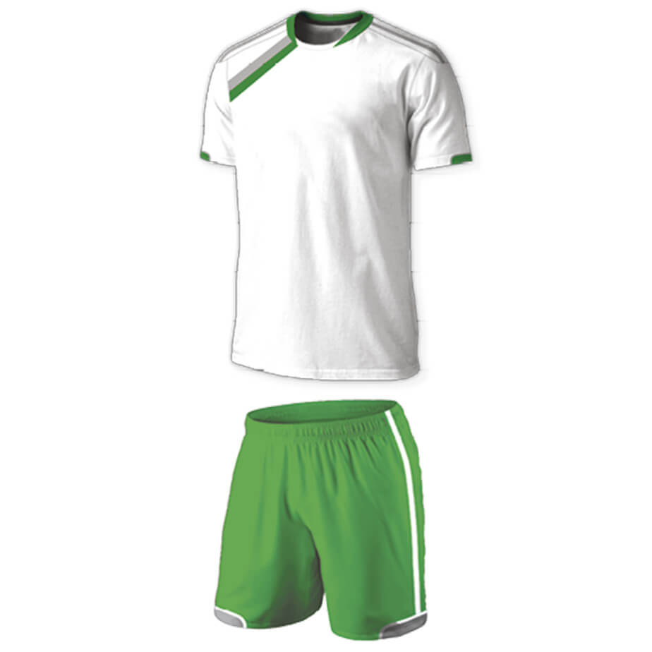 The White/Silver/Emerald BRT Vierra Soccer Single Set Is Made From 100% Polyester. The Features Include A Short Fitted Sleeve Shirt With Two-Tone Neckline Hem, Sleeve Insert With Contrast Piping,Double Stitched Curved Back And Elasticated Waistband With Draw Cord.