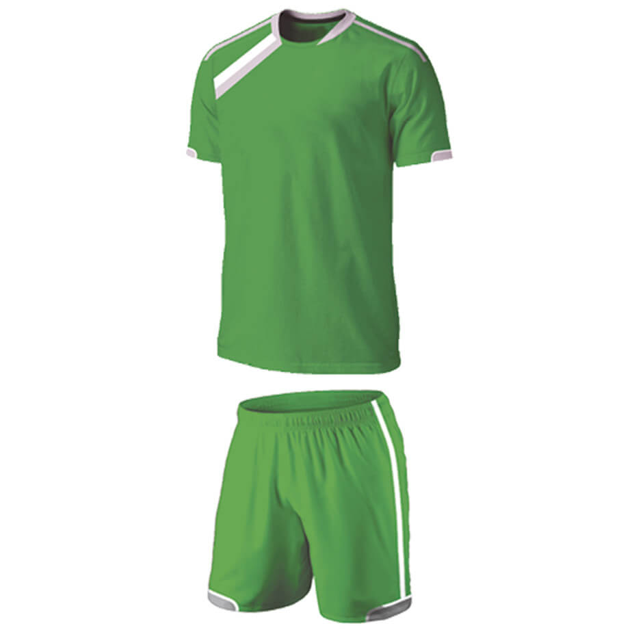The Emerald/White/Silver BRT Vierra Soccer Single Set Is Made From 100% Polyester. The Features Include A Short Fitted Sleeve Shirt With Two-Tone Neckline Hem, Sleeve Insert With Contrast Piping,Double Stitched Curved Back And Elasticated Waistband With Draw Cord.