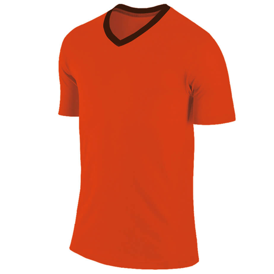 The Electric Orange/Black BRT Electric Soccer Shirt Features A Short Fitted Sleeve, Bright Electric Colour And Self Fabric Contrast V-Neck