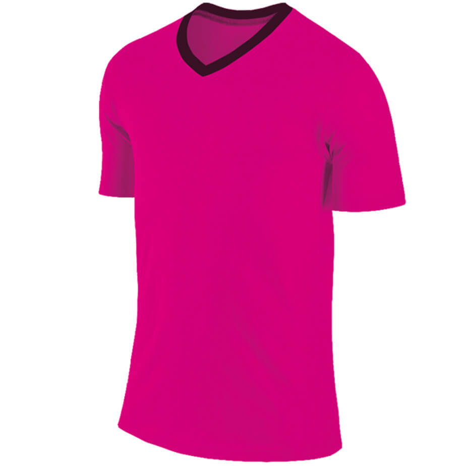 The Electric Pink/Black Kiddies BRT Electric Soccer Shirt Is Made From 100% Polyester. The Features Include Short Fitted Sleeves, Self Fabric Contrast V Neck With A Distinctive Acelli Branding.