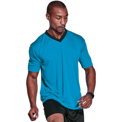 The BRT Electric Soccer Shirt is made from 100% polyester, X-tech superior quick dry moisture management fabric