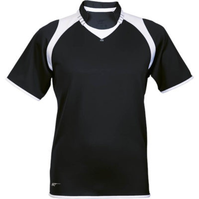 The black-white BRT Pakari Rugby Jersey is made from 100% polyester fabric with contrast panels at the shoulders and contrast self-fabric binding on the sleeves and hem.