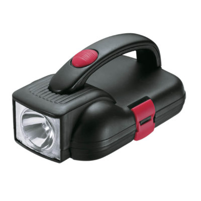 The Flashlight Toolbox Set features a molded carry case with a clip closure and on/off button.