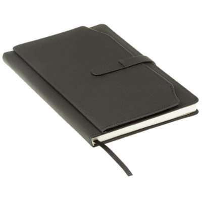The A5 Notebook with Outer Pouch is made with PU cover with matching colour stitching. Available in black only.
