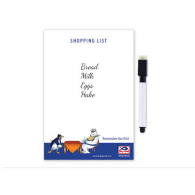 The A6 Magnetic White Board And Marker Pen is a rectangular shaped vertical whiteboard with a black eraser marker koki included.