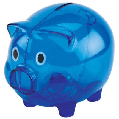 The blue Plastic Piggy Bank is made using translucent PS plastic with a large coin slot for all types of currency, a twist-lock base and opening.