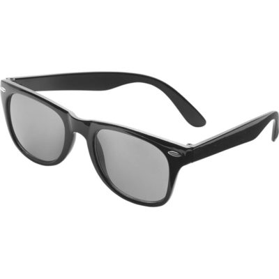 The Classic Fashion Sunglasses is plastic and comes in a solid black colour with UV 400 protected black lenses.