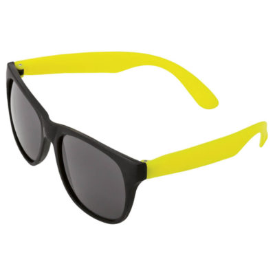 The Sunglasses With Fluorescent Sides in a fluoro yellow colour has a black frame front and black tined lenses that are UV 400 protected.