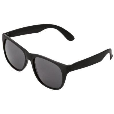 The Sunglasses With Fluorescent Sides in a black colour has a black frame front and black tined lenses that are UV 400 protected.
