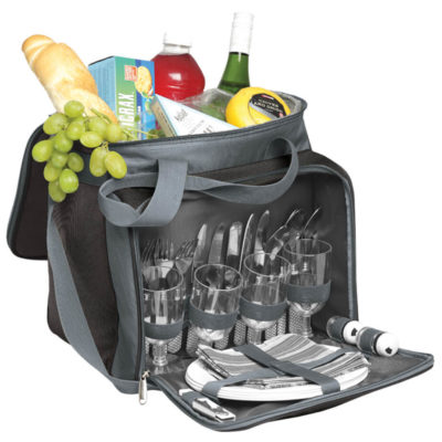 The 4 Person Picnic Cooler comes with 4 plastic cups, knives, forks, plates and serviettes