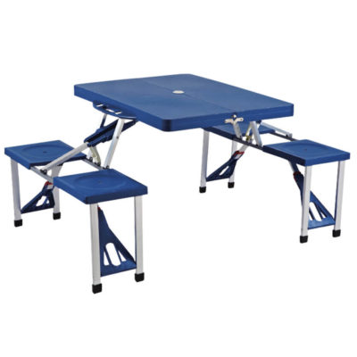 The 4 Person Picnic Table And Chairs has 4 PU stools, a umbrella hole, plastic feet, a collapsible design, steel legs and a PU table.