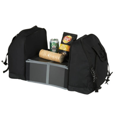 The Picnic Carry Bag With Expandable Work Station is made from 600D PU material with waterproof lining and carry handles.