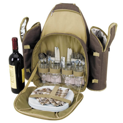 The 4 Person Picnic Set has a zip open insulated storage compartment, small zip pocket