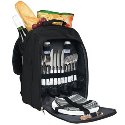 The San Severo Picnic Backpack includes 4 knives, 4 forks, 4 spoons, 4 plastic glasses, 4 plates, 4 napkins, salt and pepper shakers and a bottle opener.