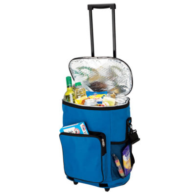 The Collapsible Trolley Cooler made from 600D material with PEVA Lining, durable foot stands and front zip pockets in the colour blue.