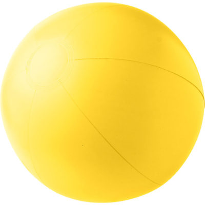 The Solid Colour Inflatable Beach Ball in the yellow and its made from PVC material.
