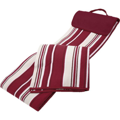 The 160gsm Outdoor Blanket is a red 160gsm fleece blanket with white stripe pattern, PVC backing, can be rolled up and has a top carry handle