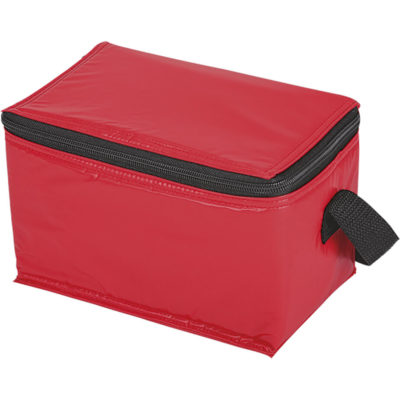 The 6 Can Cooler in the colour red is made from vinyl with PEVA lining. Its able to hold 6 regular size cans inside the leakproof insulated main compartment with a zip closure.
