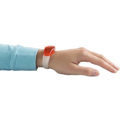 The red ABS Wristband with LED Light has 2 blinking functions and comes with batteries