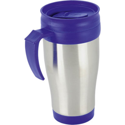 The 450ml Travel Mug has a blue plastic lid and base with a silver stainless steel, insulated double wall body.
