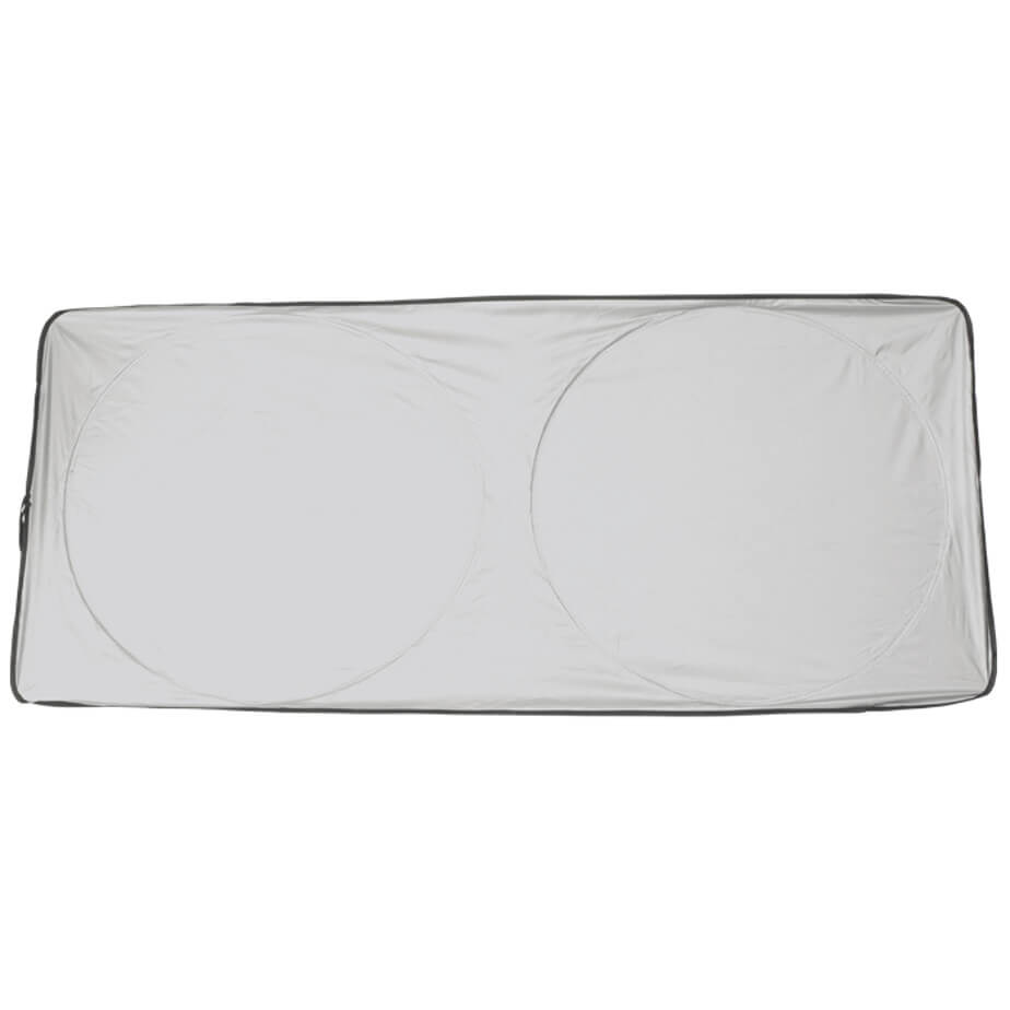 Windscreen Sun Shade is made using 190T. The features include 190T foldable sun shade, a pouch, it folds for easy storage, a silver front, a black back and a 65cm diameter.