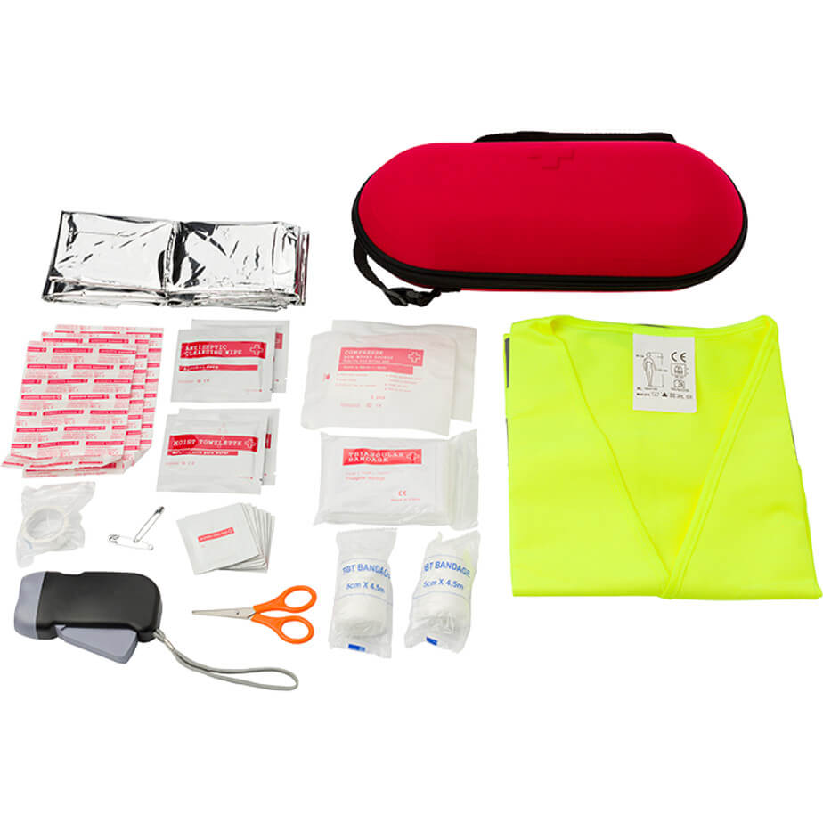 The Auto Emergency First Aid Kit Is Made Using EVA. The Kit Includes A 40 Piece Car Emergency Kit Packaged In A EVA Pouch.