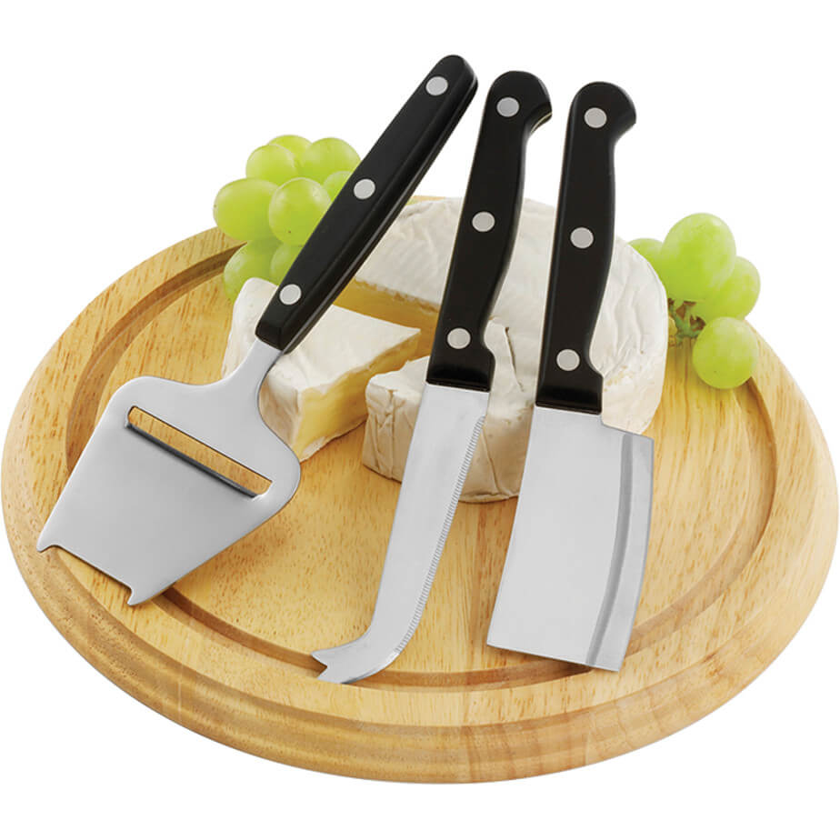 Wooden Cheese Board with 3 Knives is made using Wood, Rubber, Stainless Steel and ABS. The features include a round wooden cheese board and 3 Stainless steel knives.