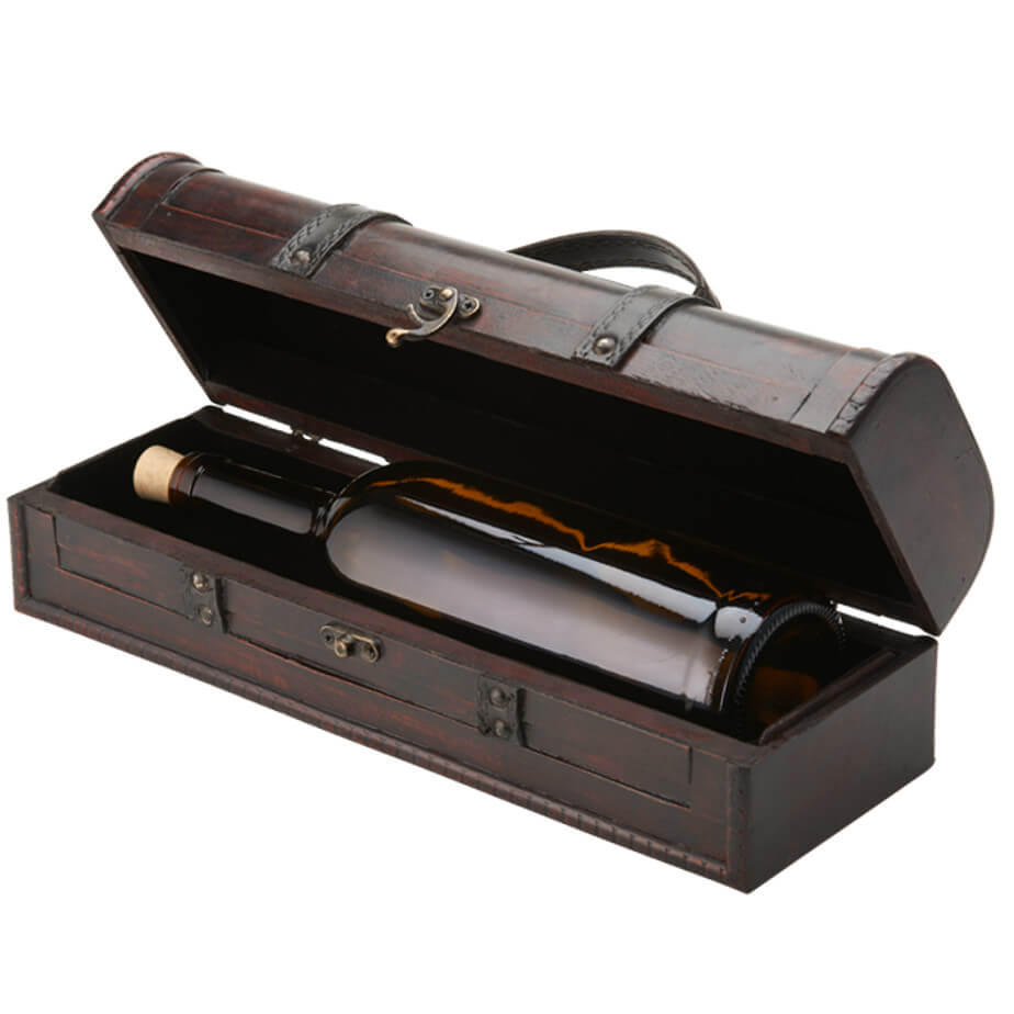 The Single Wooden Wine Carry Case Is Made From Plycase. The Features Include A Belt Felt Interior And A Metal Clasp. The Case Holds A Single Wine Bottle And Has A Carry Handle.
